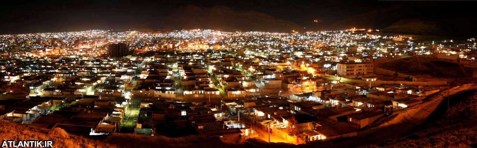عکس هوایی از ارتفاعات کوه های ایلام در شب
