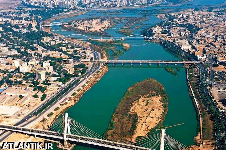 تصویر هوایی جلگه خوزستان رود کارون