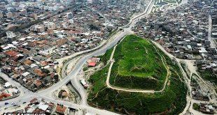 عکس هوایی از تپه باستانی شهر گرگان
