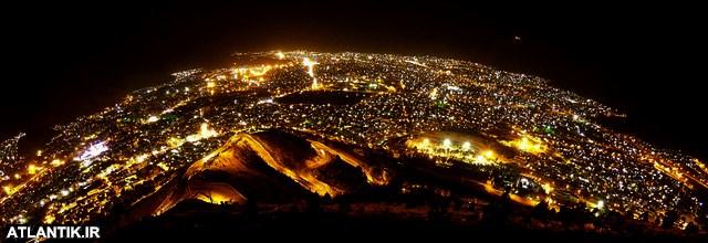 عکس هوایی شب شهر خرم آباد لرستان