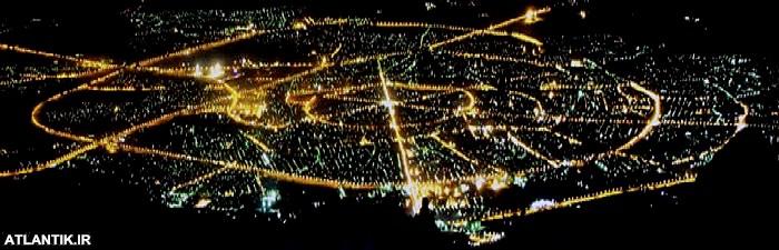 تصویر هوایی شب های شهر همدان