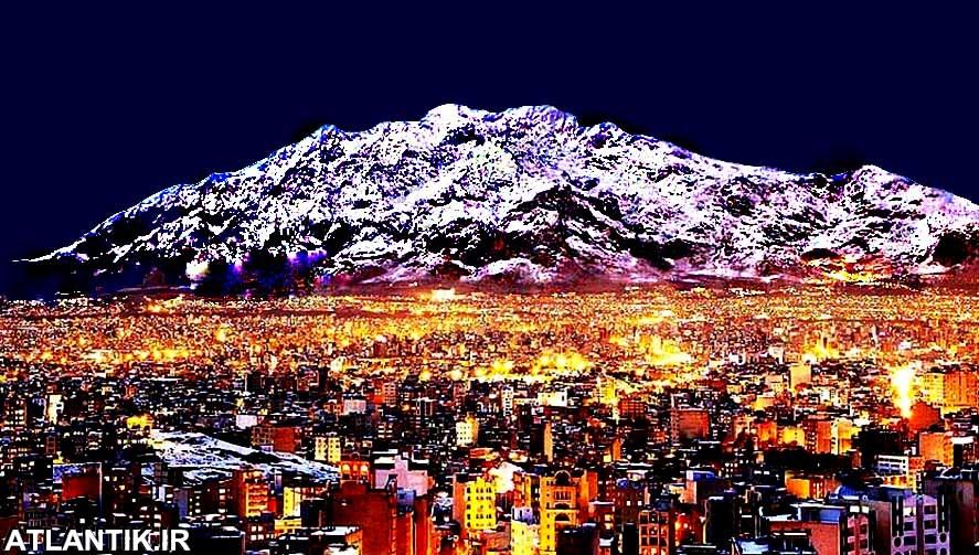 نمای کوه فرخشاد در شب کرمانشاه ایران