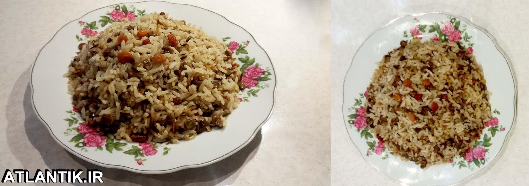 دستور پخت عدس پلو با کشمش، عدس پلو، سایت آشپزی آتلانتیک