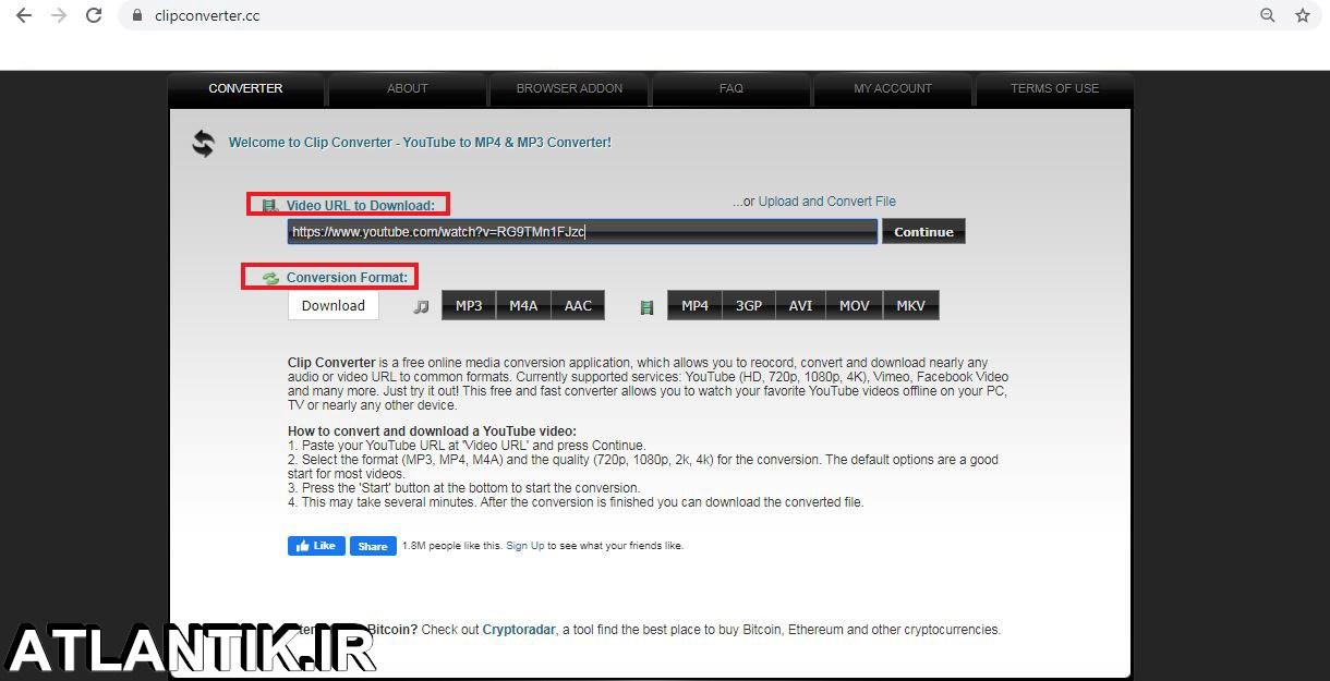 آموزش دانلود ويديو يوتيوب از سایت clipconverter - سايت آتلانتيک - ATLANTIK.IR