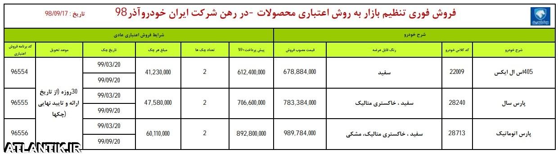 طرح فروش اقساطی محصولات ایران خودرو – 17 آذر 98